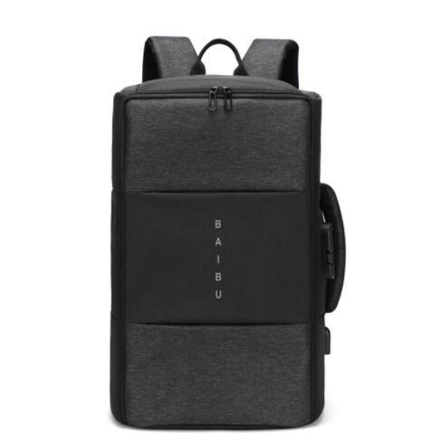 Мужской рюкзак, новинка, анти-вор, многофункциональный, водонепроницаемый, 17 дюймов, USB, рюкзак для ноутбука, дорожная сумка, мужской рюкзак для багажа - Цвет: Черный