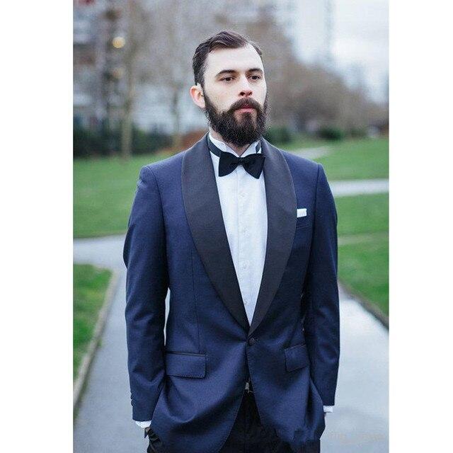 Custom Made Mens Blue Wedding Suits Groom Tuxedos Formal Business ...