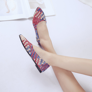 2018 Woman Shallow Flat Shoes Fashion Rainbow Square PU Leather Comfort Loafer Ladies Ballerina Flats Pointed Toe Woman Shoes Flats