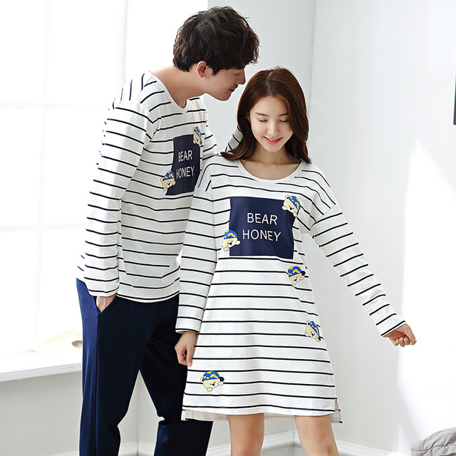 f7a42f92b2 Newly Commend Autumn Striped Cotton Couple Pajamas Suit Men Cute Cartoon  Pajama Ladies Sexy Fashion Nightdress Homewear Clothing