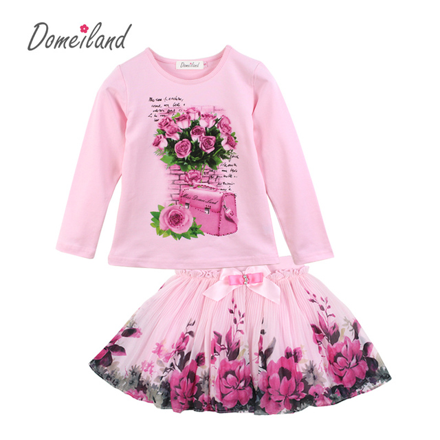 New Fashion 2017 domeiland Outfits Sets For Cute Kids Girl Print ...