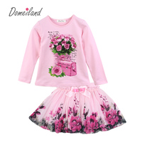 New Fashion 2015 Boutique Outfits Sets For Cute Kids Girl Print Floral Long Sleeve Shirts Tops