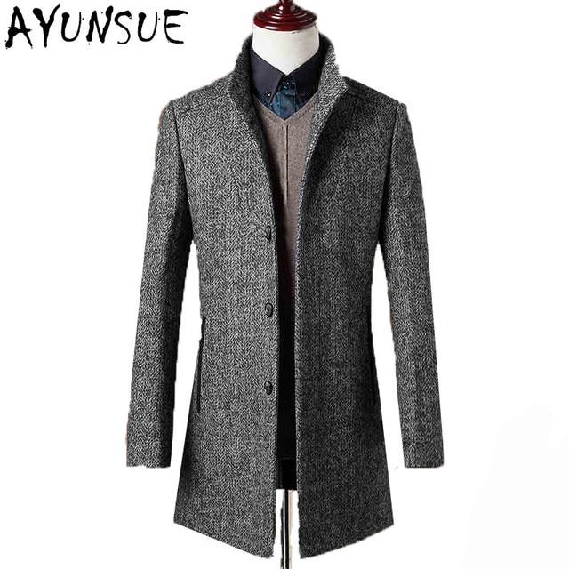 e5bd61f1109 78% Woolen Overcoat Men Brand-Clothing High Quality Mens Wool Coat Men  Jacket New Mandarin Collar Mens Coats Overcoats WUJ1157
