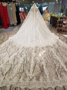 Image 2 - Ls14440 plus size marfim vestido de casamento com contas querida atacado beleza véu vestido de noiva simples curvo civil