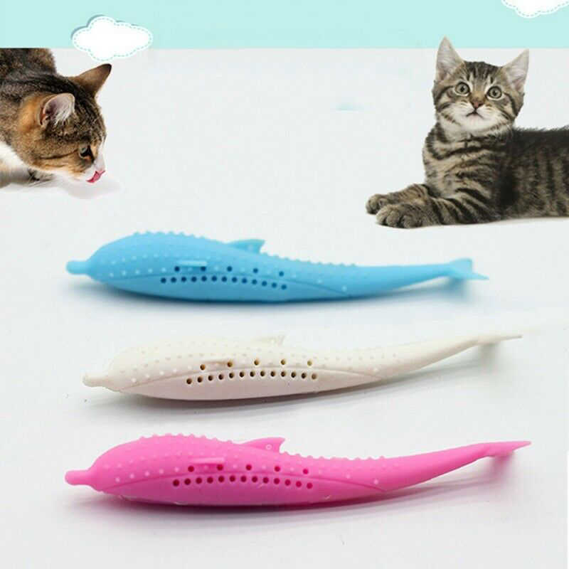 2019 Hot Silicone Fish Shape Cat Toothbrush Teething Toy with Catnip Pet Toys QJ888 #3