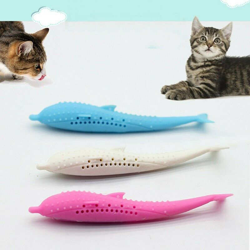 2019 Hot Silicone Fish Shape Cat Toothbrush Teething Toy with Catnip Pet Toys QJ888 #3 image