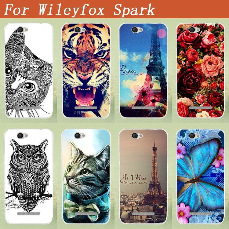 Mode TPU-målad väska för Wileyfox gnista / gnista + fodral färgglada mönster Blommor djur och Eiffeltorn Telefonkåpa
