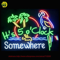 2017 Hot Neon Sign It S 5 O Clock Somewhere Parrot Palm Tree Glass Tube Handcrafted