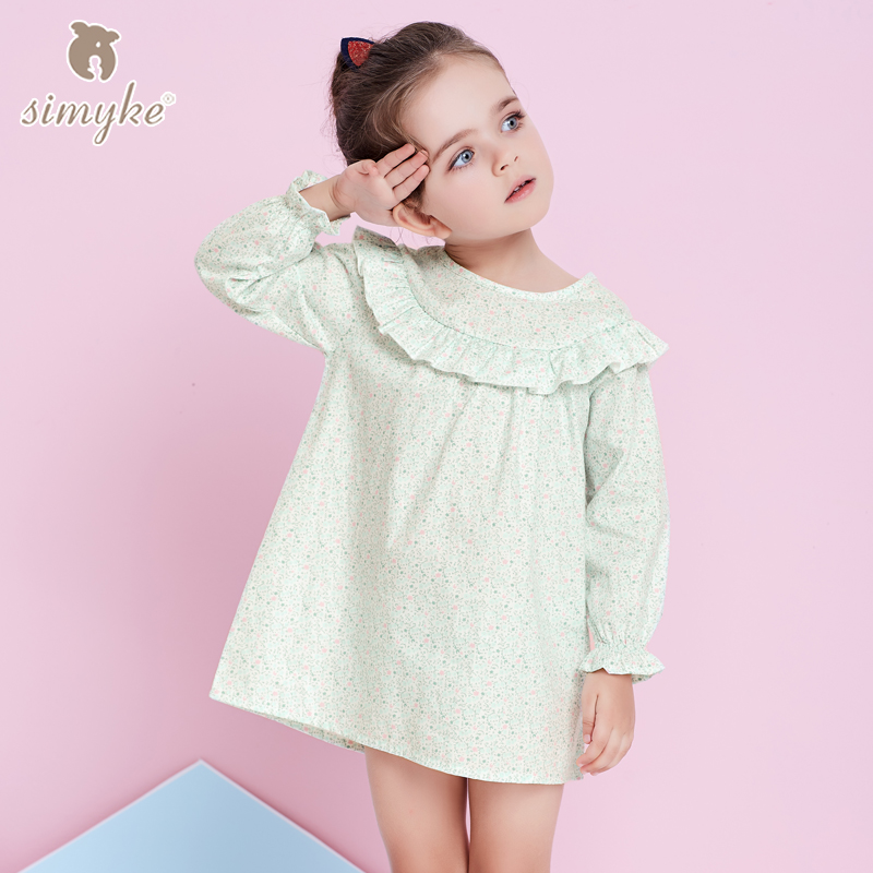 Simyke Dresses For Girls With Long Sleeve Spring 2018 Brand Girl Flower Printing Dress Kids Clothing Children Clothes W8329 2017 flower girl dress casual daily style kids dress for girls spring baby girl clothes children brand clothing fashion hot sale