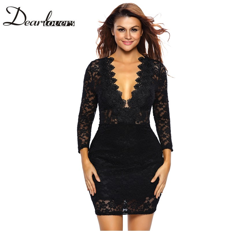 Sexy lace homecoming dress, tight short cocktail dress, long sleeve evening dress, sexy black party dr on luulla
