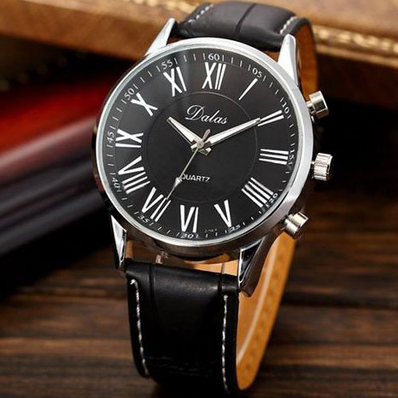 Fashion Roman Dial Watch Mens Elegant Faux Leather Analog Quartz Sport Wrist Watch Men Clock Relogio Masculino DropShipping dropshipping boys girls students time clock electronic digital lcd wrist sport watch relogio masculino dropshipping 5down