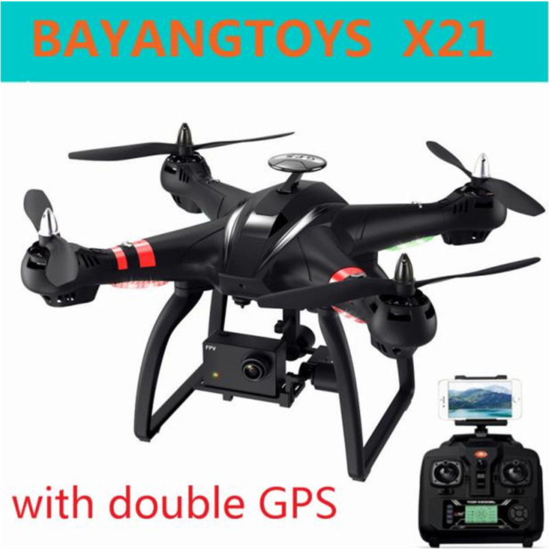 BAYANGTOYS X21 Brushless Double GPS Selfie Drone RC Quadcopter RTF WiFi FPV Camera 1080P Full HD Professional Drone With Gimbal original mjx bugs 2 b2w brushless rc drone rtf 5ghz wifi fpv 1080p full hd gps positioning 2 4ghz 4ch dual way transmitter