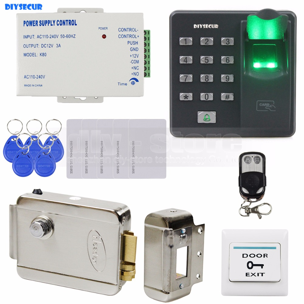 DIYSECUR Biometric Fingerprint RFID 125KHz Password Keypad Door Access Control System Kit + Electric Lock + Remote Control brand new biometric fingerprint door access control system 125hz rfid keypad for entrance guard get 10 piece id keyfob free