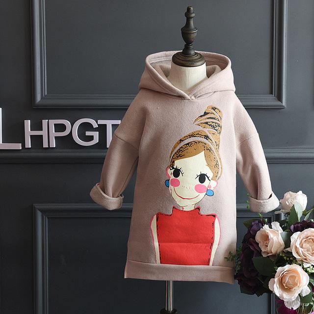 Historieta de la manera con capucha chicas sudadera lana gruesa niños calientes del invierno ropa 2-8years kids hoodies sudaderas tops retail