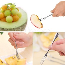 Free Shipping 5PCS Exquisite Stainless Steel Dessert Fork Kitchen Snacks Cake Fruit Salad Tool