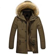 Горячая осень и зима мужские теплые пальто плюс хлопок куртка с капюшоном Пальто бесплатная доставка