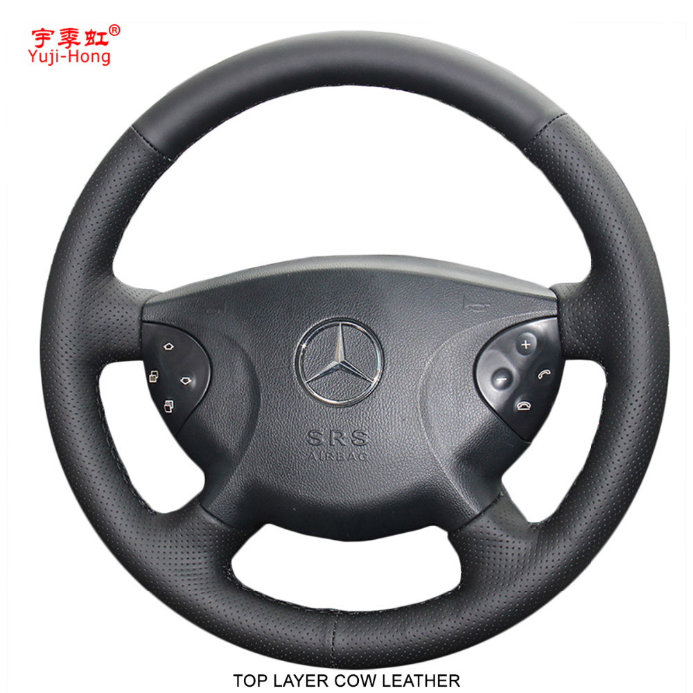 Yuji Hong Top Layer Genuine Cow Leather Car Steering Wheel Covers Case for BENZ E240 E63