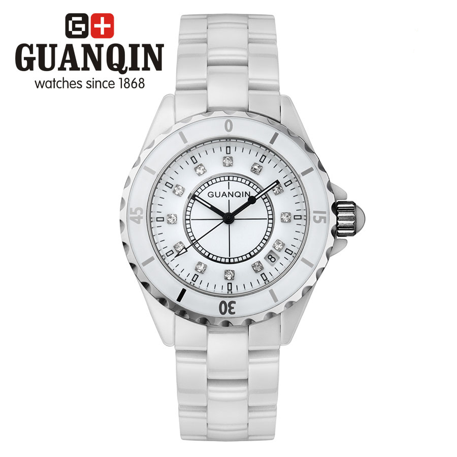 ФОТО GUANQIN GQ90002 J12 series Luxury Brand Women watches ladies white ceramic Diamonds watch H4864 relogio feminino