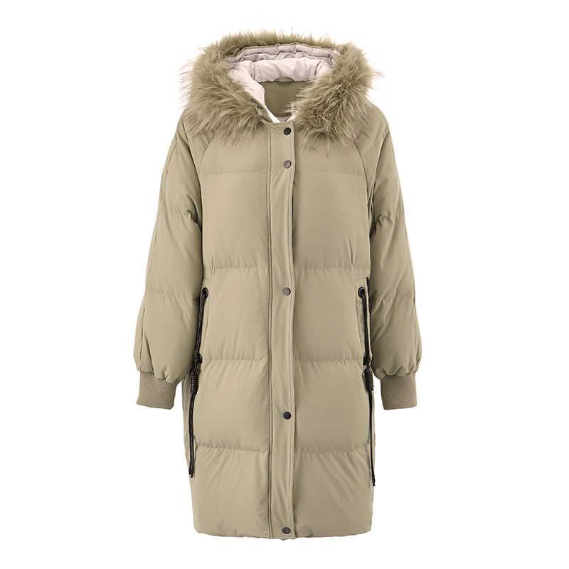 をインマン 2018 秋の新到着女性付きの毛皮の襟ゆるいカジュアル肥厚ダウンコート