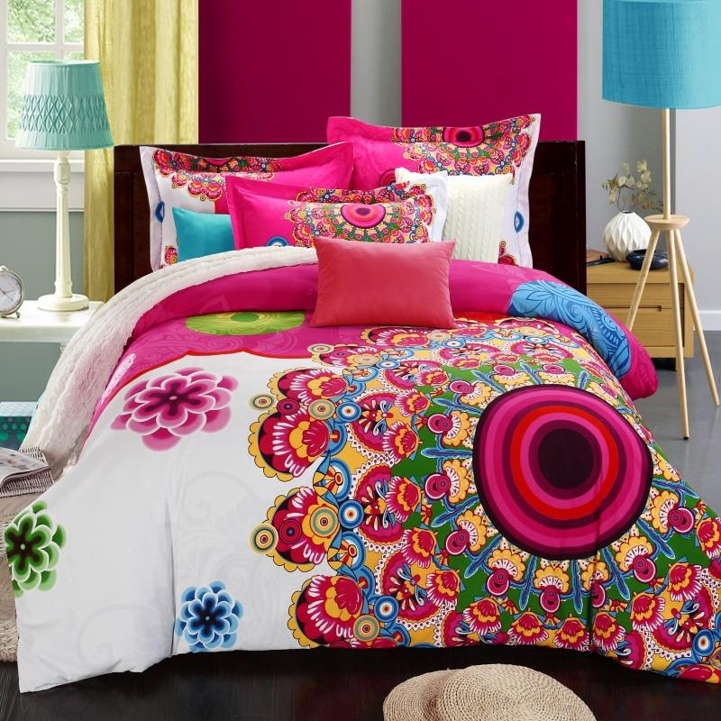 NºEstilo bohemio 100% algodón 4 unids Ropa de cama casa flor textil ...