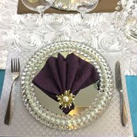 10pcs Wedding diamond encrusted mirror display plate three rows of diamond glass plate Handmade pearl white beads display plate