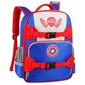 Nueva Moda Capitán América Para Niños Marca Bolsa de La Escuela de Anime Estudiante Niño 1-3-6 Grado Mochila Caliente venta de Descompresión Mochila A082