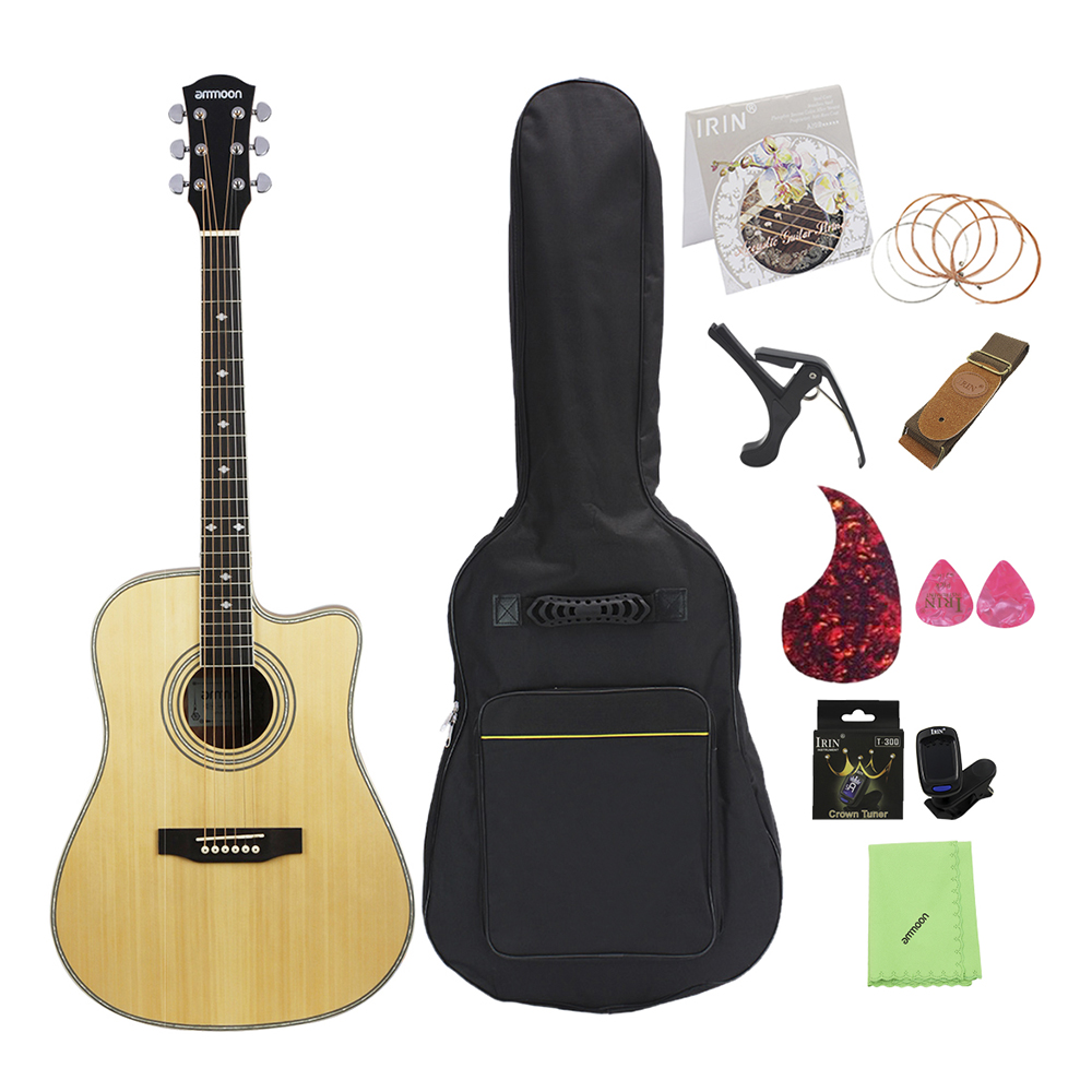 Ammoon 41 Cutaway Acoustic Folk Guitar Spruce Topboard Sapele Backboard & Sideboard Rosewood Fingerboard Exquisite Traditional Embroidery Art Stringed Instruments Musical Instruments