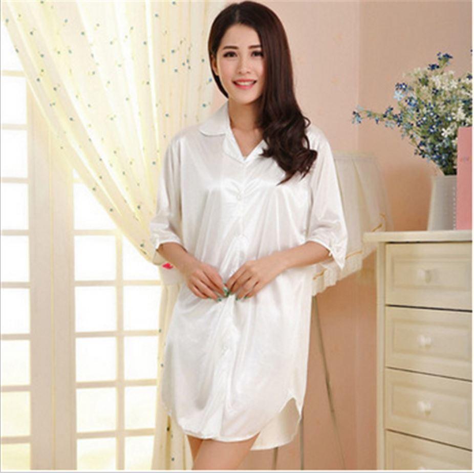 2016 Sell well Summer New Womens Sexy pajamas wearing loose silk chiffon Nightdress Indoor Clothing Shirt styles Sleepwear