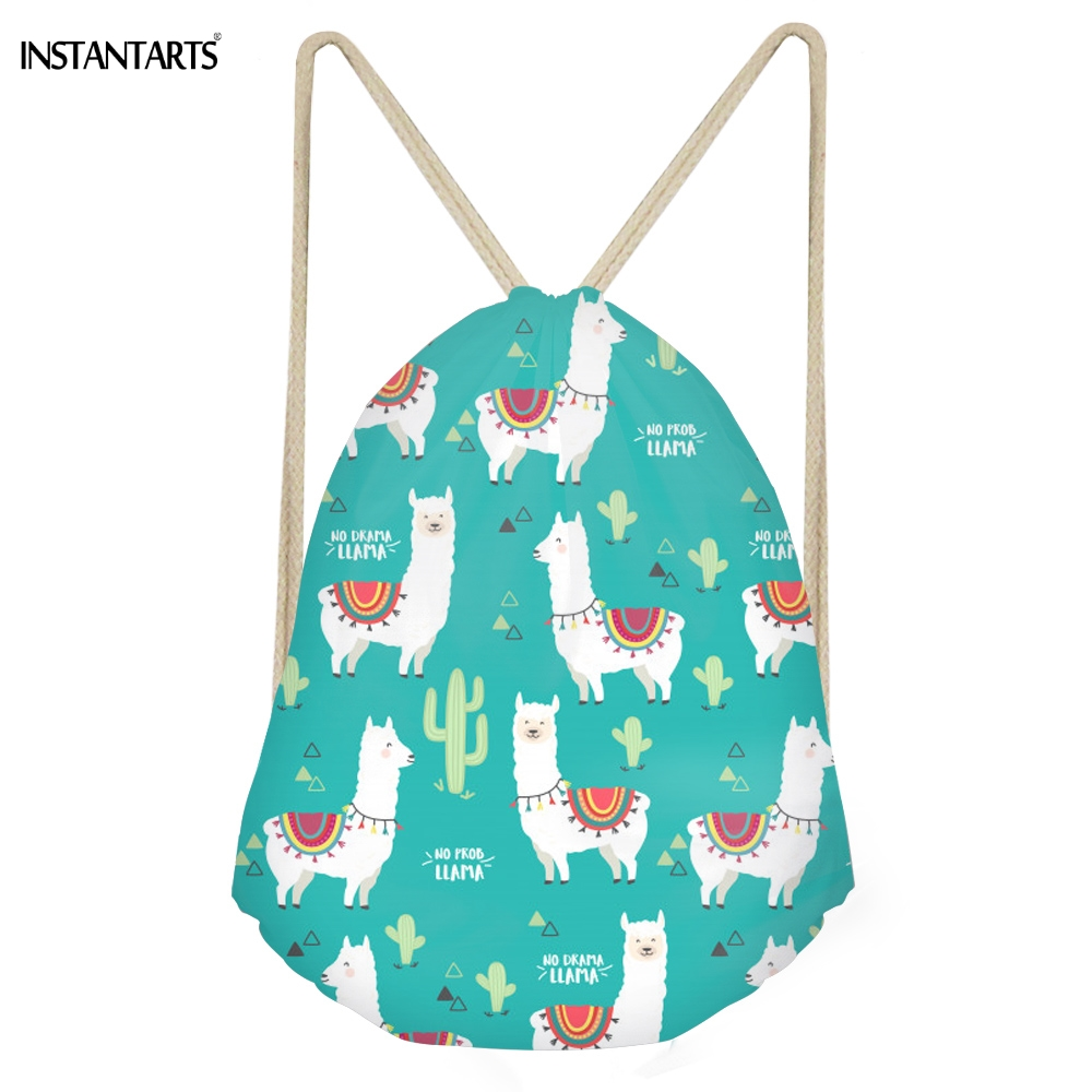 INSTANTARTS Cute Animal Alpaca Cactus 3D Print Girls Drawstring Bags Funny Softback Storage Backpacks Children Storage Sack Bags