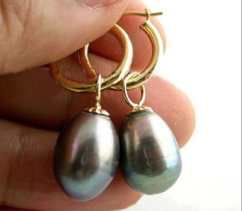VERY BEAUTIFUL A PAIR 11 14MM SOUTH SEA BLACK PEARL EARRING 14 GOLD