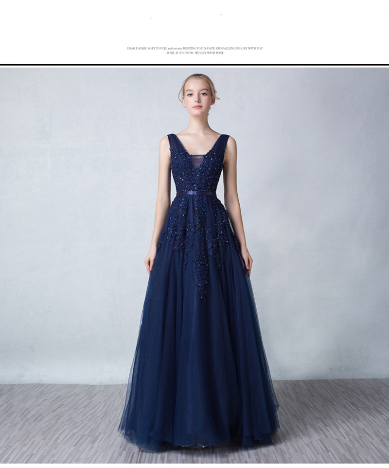 Navy Blue V-Neck Prom Dresses