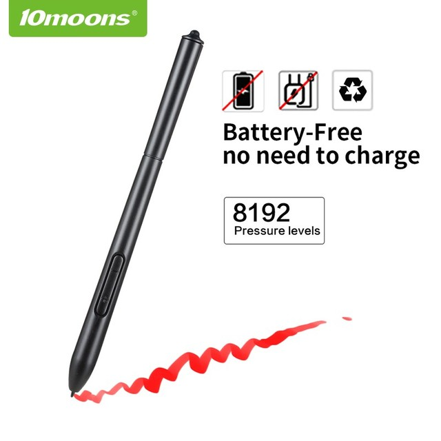 10moons 10*6 Inch Professional Graphic Tablet 8192 Levels Digital Drawing Tablet No need charge Pen Tablet