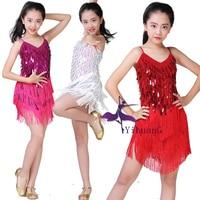 Kids Latin Dance Dress Sequin Tassel Dancewear Clothing Girls V Neck Dresses Stage Wear Costumes Kids