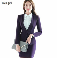 Autumn Winter Work Wear Skirt Suit Set Women Long Sleeve Slim Formal Blazer With Skirt OL