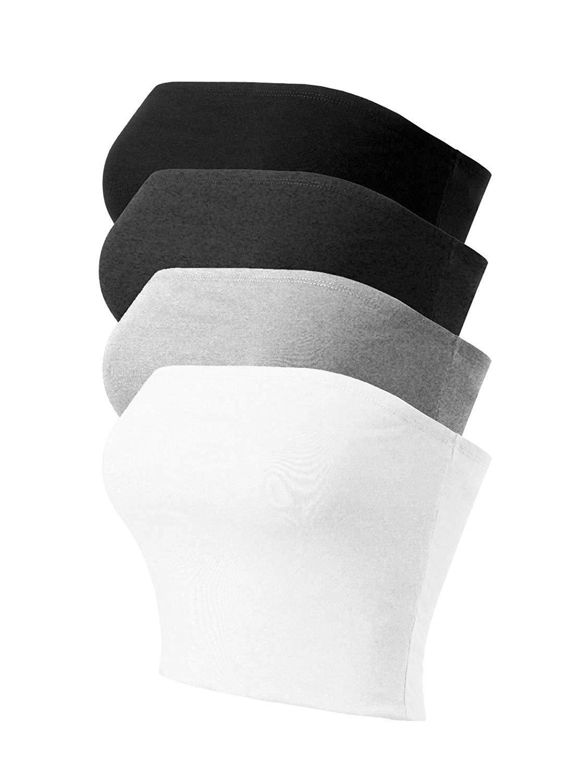 2018 Causale delle Donne Senza Spalline Carino Solido di Base Superiore Del Tubo Del Cotone delle donne dei vestiti di 12 pezzi