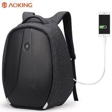 Funcional Dos Homens Aoking Mochila Laptop Mochilas de Viagem Anti-roubo de Carga USB Externo À Prova D' Água PVC Grande Capacidade de Mochila