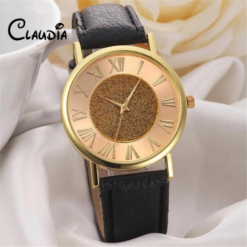 Fashion CLAUDIA High Quality Women Glitter Dial Leather Band Analog Quartz Wrist Watch Watches FreeShipping Hot sale Reloj Mujer high quality 2017 new design luxury brand man watch unisex fashion pu leather band quartz analog wrist watches watch hot sale
