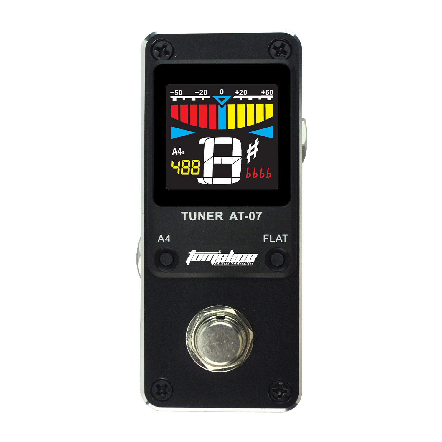 AROMA AT-07 Pedal Tuner 4 Flat 430-450Hz Chromatic Tuning Bypass