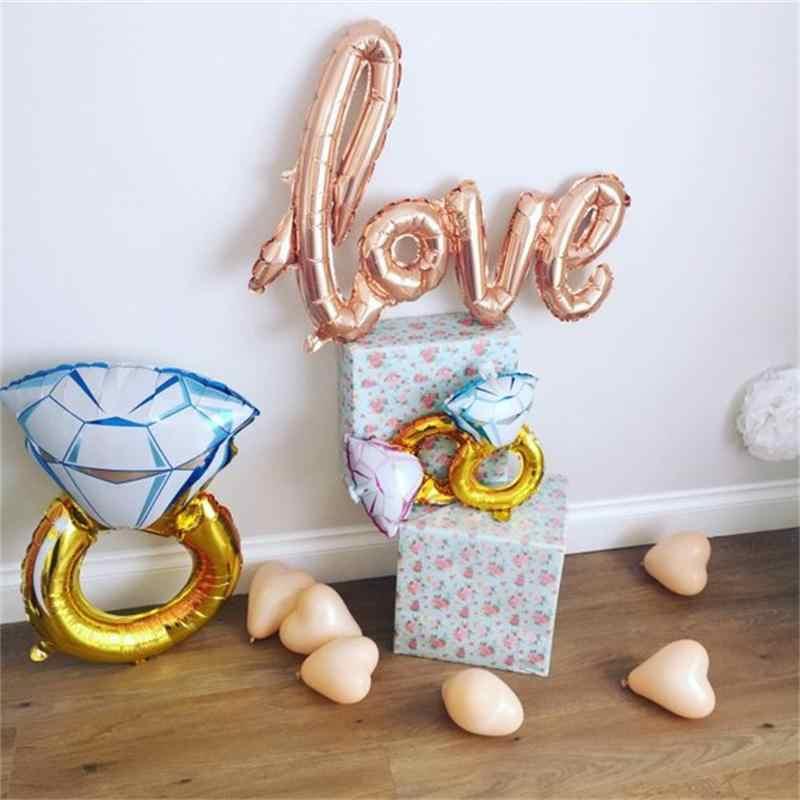 Ouro rosa Anel de Diamante de Noiva Amor Balão de Hélio Balão Balão Da Folha de Ouro Rosa Decoração Engagement Nupcial Do Casamento Do Chuveiro