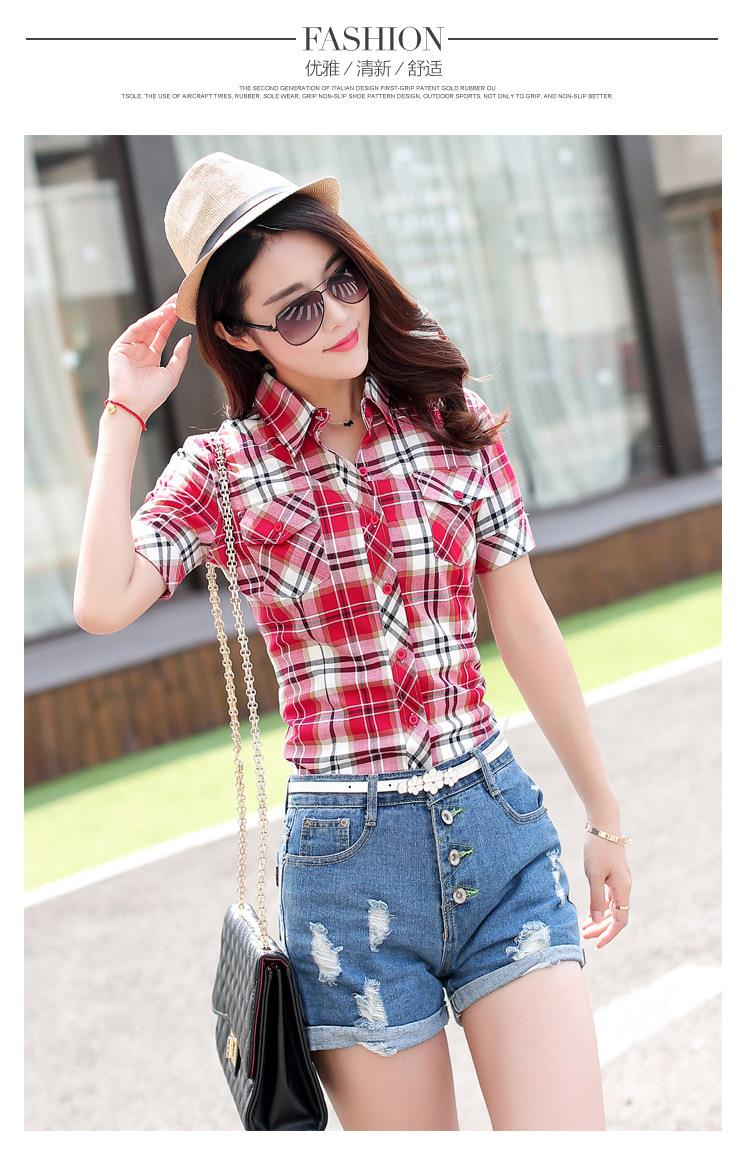 HTB1HIH5JFXXXXa9XpXXq6xXFXXXo - New 2017 Summer Style Plaid Print Short Sleeve Shirts Women
