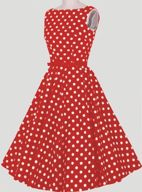 e9b1a23e4661 2018 summer casual robe courte rouge blanc pois vintage style parti robe  femmes robe livraison rapide