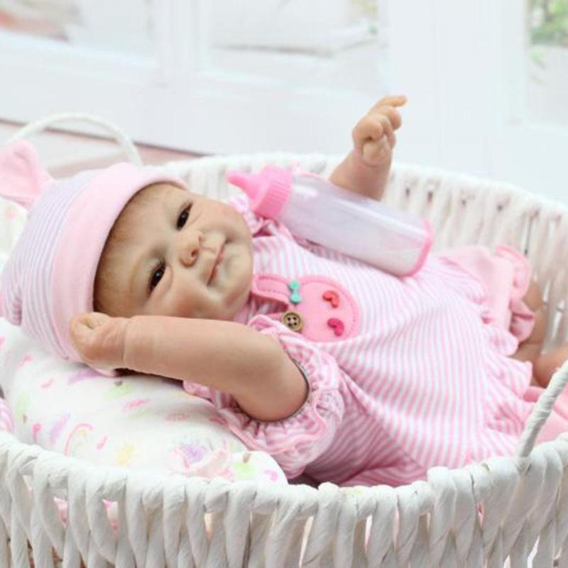 45cm Fashion Doll Simulation Reborn Baby Emulated Silicone Kids Newborn Boy Girl Birthday Children Gift Toys  For Kids Playmate