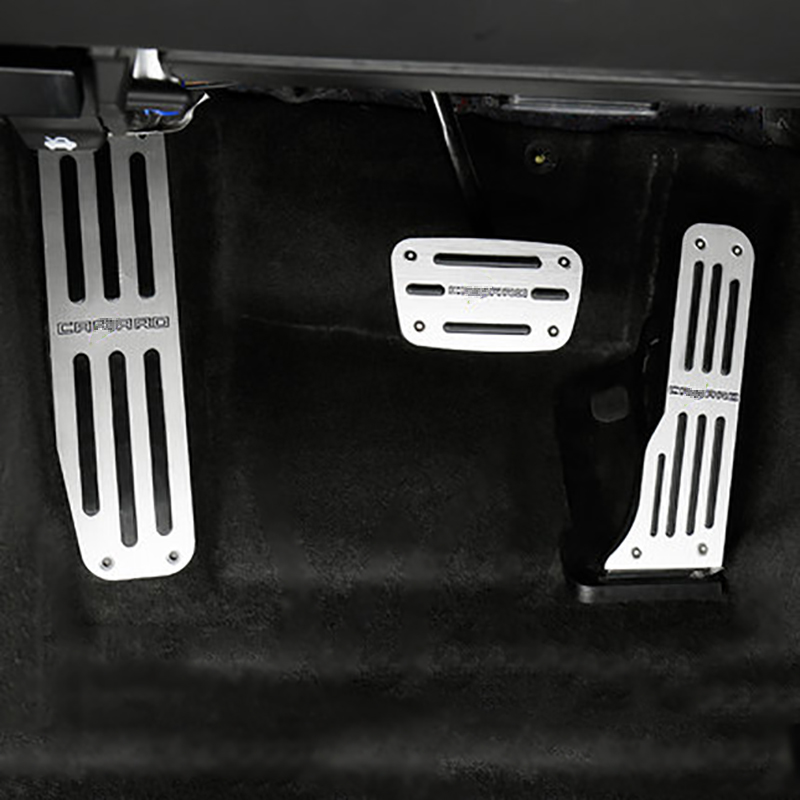QHCP Car Left Side Aluminum Alloy Foot Rest Pedal Accelerator Pedal+ Brake Pedal Cover Trim Fit for Chevrolet Camaro travel dedicated lazy people pedal foot rest for airplane high speed railway