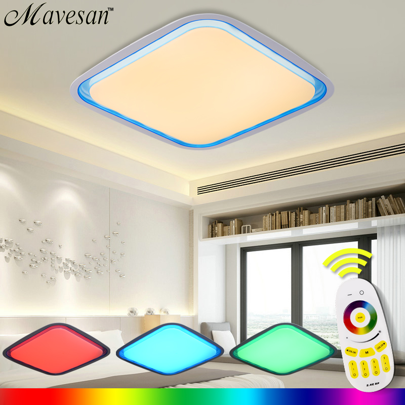 Remote Ceiling Light RGB controler and dimmer Smart LED circular Lampshade Modern luminaria lamp for living room 36W ledS black and white round lamp modern led light remote control dimmer ceiling lighting home fixtures