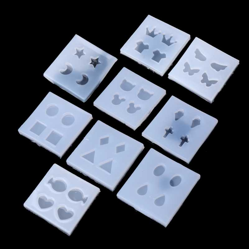 クリスマスシリコンモール型ラウンドオーバル正方形 Diy のスタッドのイヤリングエポキシ樹脂モールドジュエリーメイキングペンダント DIY クラフト