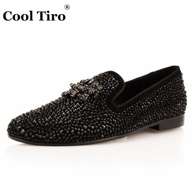 Black Suede Rhinestone Men Loafers Crystals Tassel Slippers Smoking Slip-on Black Dress Shoes Shoes Men's Flats Genuine Leather