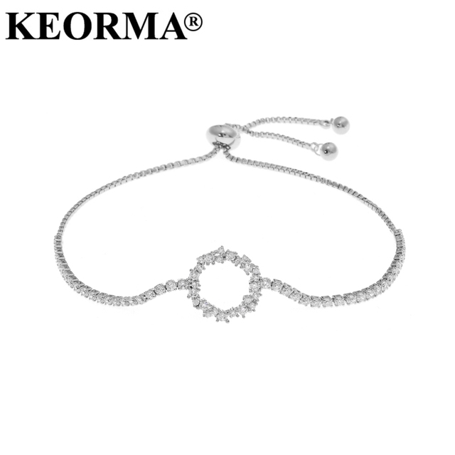Keorma Aaa Cubic Zirconia Adjule Pull String Bracelets Round Circle Shaped Chain Bracelet For Women Femme