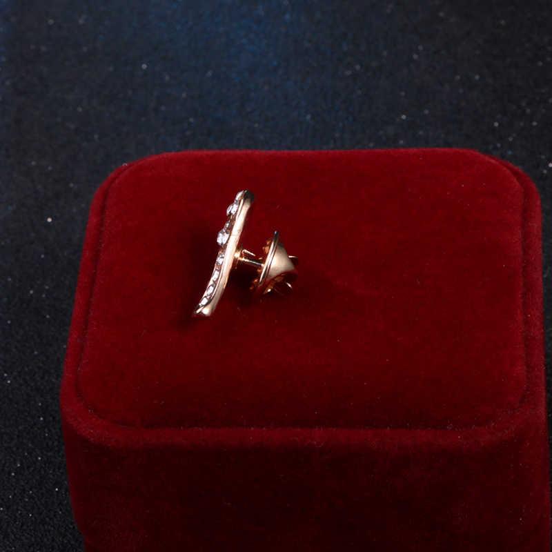 I-Remiel Logam Angel Wings Rantai Kristal Bros Badge Broche Pin Kerah Bros Musik Hadiah Gaun Mariage Wanita Broche pria