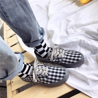 Fashion Street Cool British Style Classic Plaid Women Causal Shoes Student Girl Popular Flat Shoes