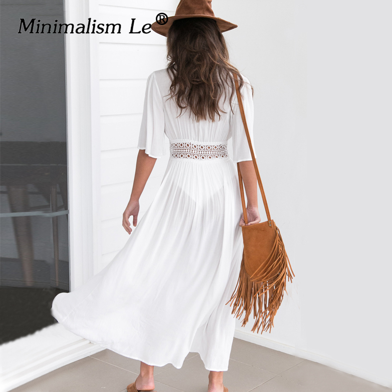 Minimalism Le 2019 Swim Dress New Beach Wear Women Beach Cover Up Summer Bandage Swimsuit Cover Up Sexy See-Through Beach Dress